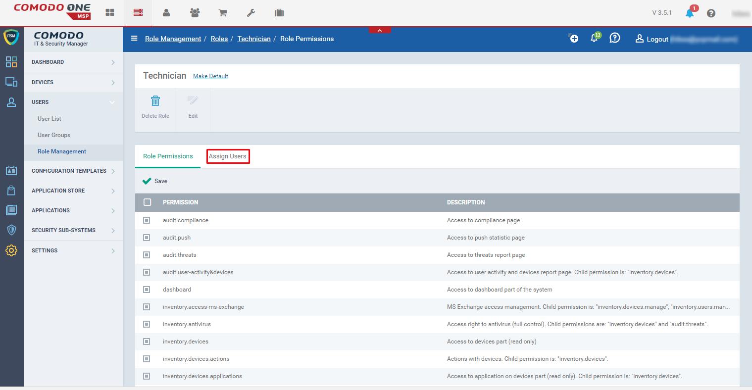 Comodo One | Configuring roles in ITSM