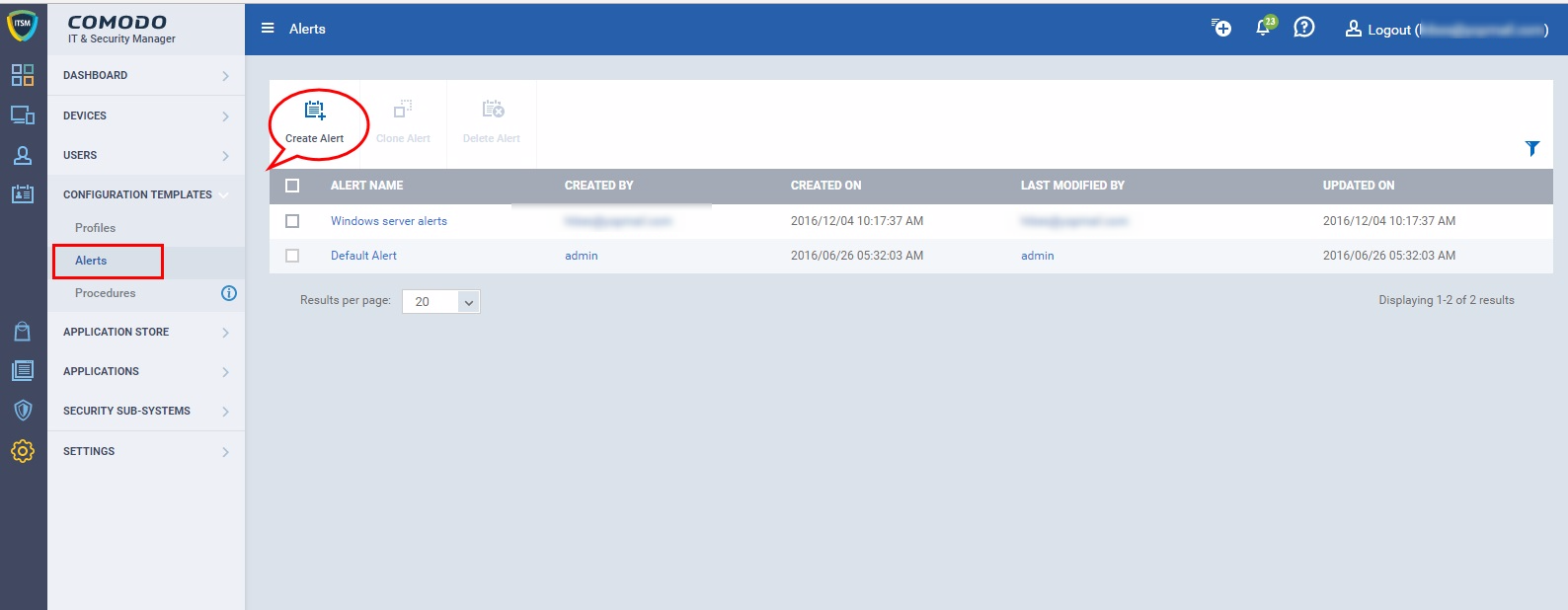 Configuring alerts in ITSM using Comodo One