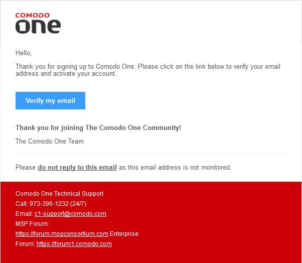 comodo verify mail