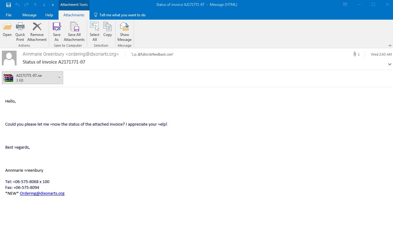 archivo adjunto de correo electrónico